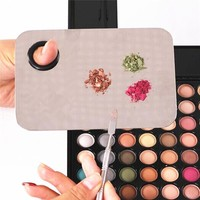 Stainless Steel Cosmetic Nail Makeup Mixing Palette & Spatula Tool