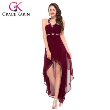 Grace Karin Sexy Halter Black Powder Blue Wine Red Burgundy Prom Dresses Front Short Back Long Party Gown Chiffon GK000012