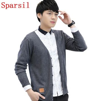 Sparsil Men Autumn V-Neck Leisure Sweaters Cashmere Blend Cardigans Knitted Thin Casual Male Large Size Knitwear Spring