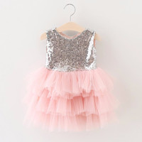 "The ""Gigi"" Shimmer Silver Sequin Bow Baby Toddler Dress - Light Pink"