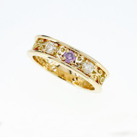 Lavender sapphire and 0.20ct diamond filigree ring made from yellow gold, filigree engagement, unique, sapphire ring, wedding, purple ring