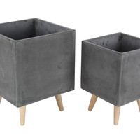 Benzara Durable Fiber Clay Planter Wood Planters, Set Of 2