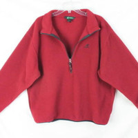 EMS Fleece Jacket XL size Mens Cranberry Red Zip Neck Pull On Pockets Ski