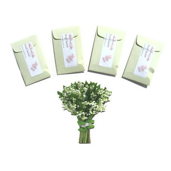 4 Lily of the Valley Scented Mini Sachets - DIY Favors Custom - Spring Home Fragrance - Pastel Green - Floral Cottage Chic - For Easter Her