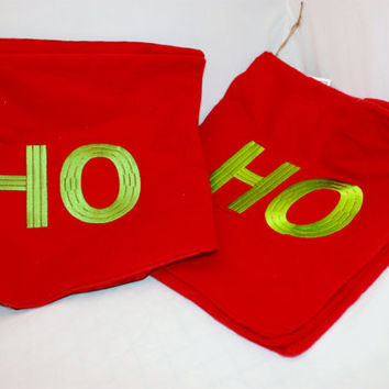 Pillow Covers, Set of 3 HO HO HO Pillow Covers