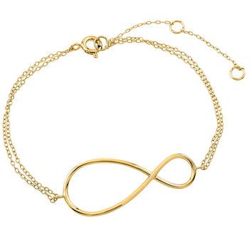 .925 Sterling Silver Gold Plated Exaggerated Infinity Sign Bracelet