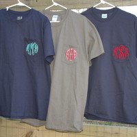 Short Sleeved Monogrammed Pocket T Shirt/Tee