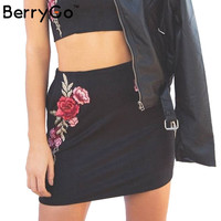 BerryGo Flower embroidery pencil skirts women Sexy suede high waist bodycon short skirt Vintage Christmas mini skirt
