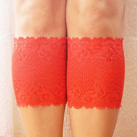 RED Boot Cuffs, Leg Warmer, Lace Boot Cuffs, Women's Shoe Accessories Boot RED Topper Leg Toppers