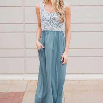 Loving Lace Maxi Dress- Slate Blue