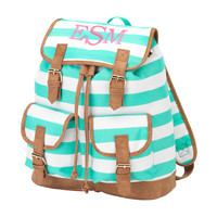 Monogrammed Campus Backpack Mint Green Stripe Bookbag Satchel Back Pack Book Bag Girls