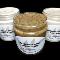 Hazelnut Coffee Gift Set, Whipped Soap, Sugar Scrub, Body Butter, Gift under 25