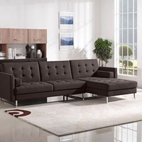 Opus Convertible Tufted RF Chaise Sectional - Chocolate Fabric