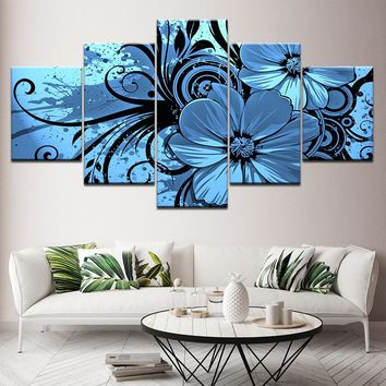 Purple Blue Floral Flower Orchid 5 Panel Wall Art Canvas Panel Print Decor