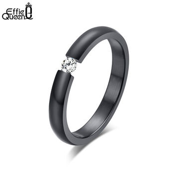 DALI High Quality Titanium Steel Finger Rings AAA Quality Austrian Zircon Wedding Engagement Rings Free Shipping WTR48