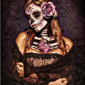 Daveed Benito Day of the Dead Skull Girl Sexy Gothic Pin-Up Art Postcard Poster Print 24-Inch by 36-Inch