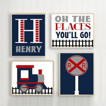 TRAIN WALL ART, Train Decor, Baby Boy Nursery Decor, Train Theme Pictures, Little Boys Quote Canvas or Prints Big Boy Room Decor, Set of 4