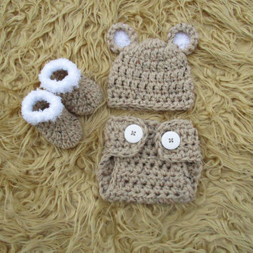 Baby Bear Outfit Crochet Bear Hat Diaper Cover Baby Bear Hat Animal Hat Baby Boy Hat Baby Photo Prop Crochet Baby Hat Bear Newborn Bear Hat