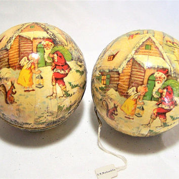 Pair 1956 German Paper Mache Christmas Ornament Candy Container Signed KS Adler Round Balls Santa Claus Angel Original Woolworths Tags  217