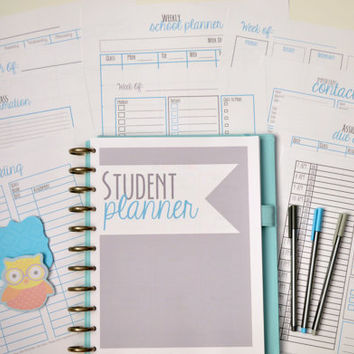 College Student Planner, Student Agenda, Student Planner, Printable College Planner, Organization, 11 Sheets,Instant Download,Editable, BLUE
