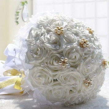 30 Pcs High Simulation Rose Bridal Holding Flowers Bouquet Wedding Flower Decorations Valentine's Gift = 1932903236
