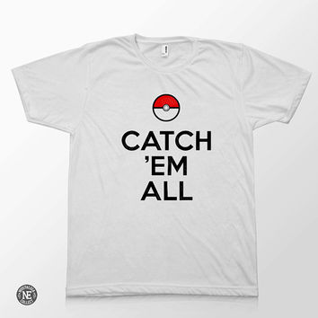 Catch Em All - Video Game White Unisex T-Shirt - Sizes - Medium Large