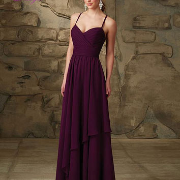 Dreagel Sexy Sweetheart Neckline Pleated Vestido Spaghetti Straps A-line Bridesmaid Dress 2017 Purple Chiffon Wedding Party Gown