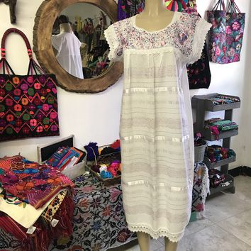 Oaxaca White Midi Loomed Dress with Pastels Embroidery