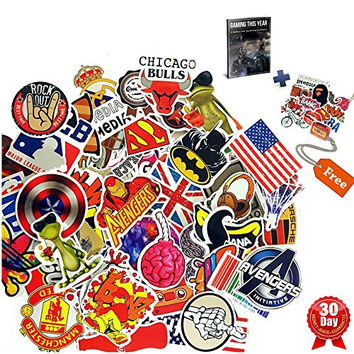 SUPERIOR QUALITY and The ONLY BAG of 100 plus 11 FREE Vinyl Graffiti Decal Logo Stickers for laptops, Skateboard, Snowboarding, Car, Helmet, Luggage-With also an eBook on Gaming.So LETS BOMB IT!