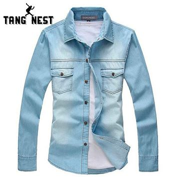 New Vintage Men Fashion Breathable Denim Thin Jacket Long Sleeve Light Jean Jacket