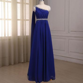 Royal Blue Evening Dresses Chiffon One-shoulder Sleeveless Beaded Crystals Sheath Floor Length Party Prom Gowns