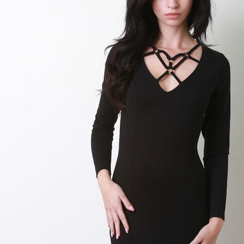 Ringlet Cage Neck Bodycon Dress