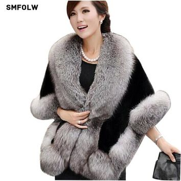 2017 fashion Mink Rabbit  Autumn and Winter warm shawls New wedding Fox Fur Vest gilet outerwear women's  Faux Fur coat