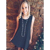 Game Day Tunic- Black and White Stripe
