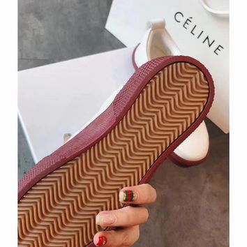 Celine Cylin 2018 spring color contrast white shoes low to help round head with low heel casual shoes women's flat canvas shoes sneakers