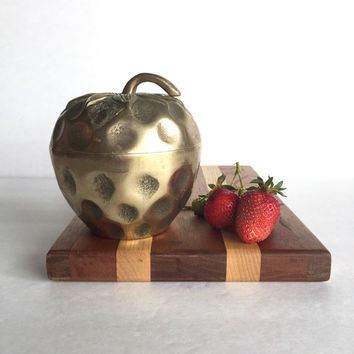 Vintage Brass Strawberry Dish With Lid