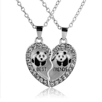 Half Love Heart Rhinestone Pendant Best Friends Necklace Friendship Gift For Couple colar kolye collier collares