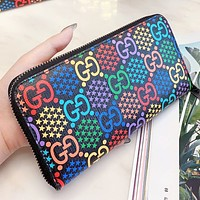 GUCCI New fashion multicolor more letter star print leather wallet purse handbag