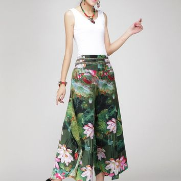 Women Retro Printing pants casual loose green long pants