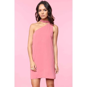 One Shoulder Shift Dress - Rosy Mauve