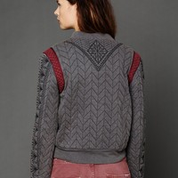 Free People FP New Romantics Quilted Baseball Jacket