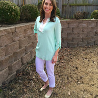 Sunny Day Blouse - 2 Colors Large Mint