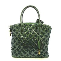 Auth LOUIS VUITTON Lockit Green Monogram Fascination Patent Leather & Embroidery