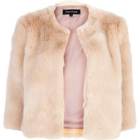 River Island Womens Light pink cropped faux fur coat