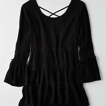 AEO Tiered Tunic Shirt , True Black