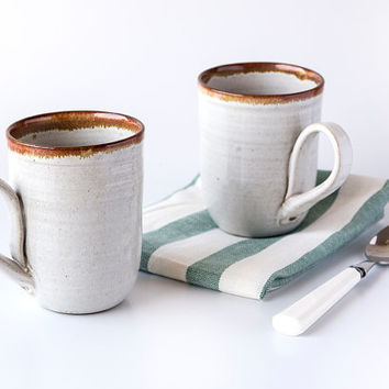 White Coffee Mugs / White Ceramic Mugs / Set of 2 Mugs / Ready to Ship!