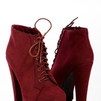 Faux Suede Platform Boots in Burgundy