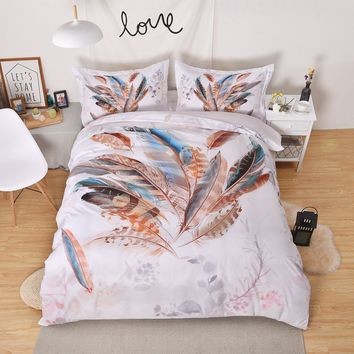 2018 Fashion 3D Gorgeous Feather Printed Bedding Set with Pillowcase Duvet Cover Sets  Twin Full Queen Size