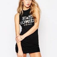 Reason Homies Sleeveless T-Shirt Tank Vest With Holographic Print