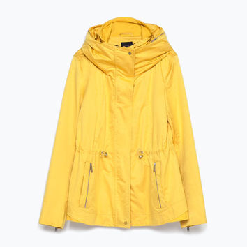 Combined knit short parka
